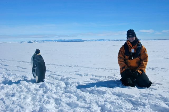Steph in Antarctica with Wally